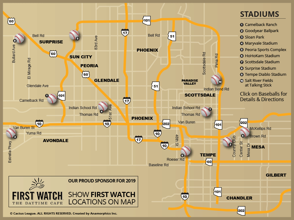 Mlb Spring Training Locations Florida Map.Cactus League Stadium Map